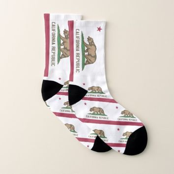 All Over Print Socks with Flag of California State