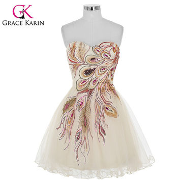 Free Shipping Grace Karin Tulle Little Black White Short Prom Dress Tulle Peacock Sexy Evening Dresses Ball Gown 4975