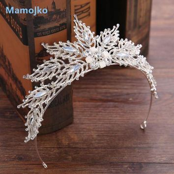 MDIGU3S Mamojko Wedding Jewelry Brand  Hair Wear Fashion Sliver-Color Crystal Flower Bride Crown Tiaras Hot Wedding Accessories Gift
