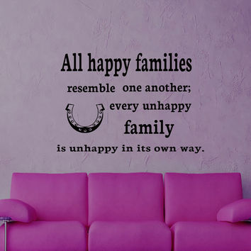 Wall Decals Family Quote Decal Vinyl Sticker Horseshoe Home Decor Bedroom Dorm Living Room MN 111