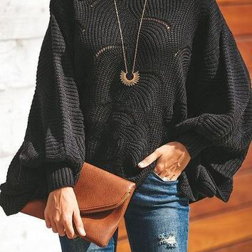 Black Crew Neck Batwing Sleeve Women Knit Sweater