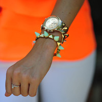 Studs And Spikes Bracelet: Mint/Gold | Hope's