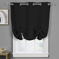 """Black Ava Blackout Weave Curtains Grommet Tie Up Shade for Small Window ( 46"""" W X 63"""" L)"""