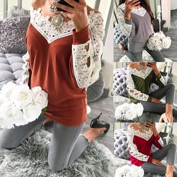 Lace stitching casual wool bottoming shirt 1018DY