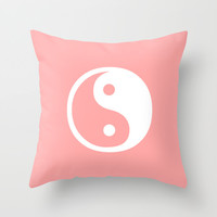 Coral Pink Harmony Yin Yang Throw Pillow by BeautifulHomes | Society6