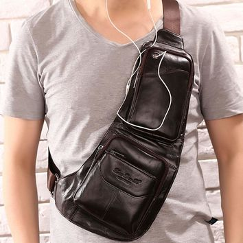 Men's Vintage Leather Chest Bag