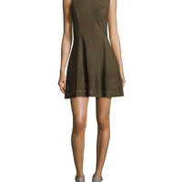 Zuni Sleeveless Suede Dress, Olive, Size:
