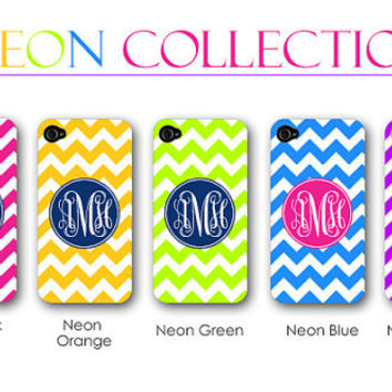 Neon iPhone iPhone 5 and 4/4s Case - Monogram iPhone Case - Personalized iPhone Case