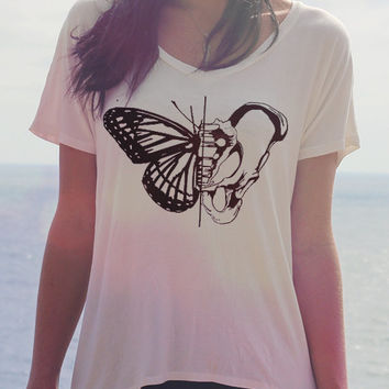 Butterfly + Hip Bone Anatomy Shirt - Women's T Shirt // Geometric Boho Top - Bohemian Clothing -  Hippie Clothes // Festival Clothing