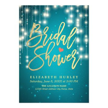 Gold Script Turquoise String Lights Bridal Shower Card