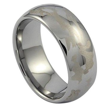 8mm Tungsten Carbide Camouflage Ring Hunting Engagement Wedding Camo Silver Band