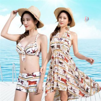 2 Two Piece Bikini Sexy Women Swimwear 2018 Halter Skirt Bikini Set Summer Printed Biquini Bathing Suit Tankini 3 Piece Cover Up KO_21_2