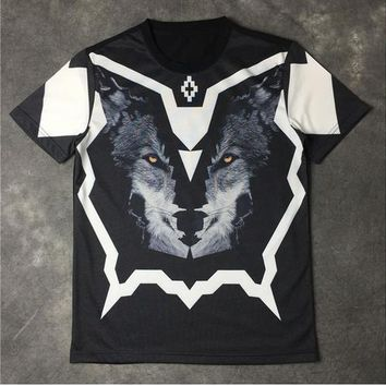 spbest Hot Unisex MB T Shirts Men Wolf Head Print Italy Brand Clothing Marcelo Burlon Cotton T Shirts Hip Hop Palace HBA T Shirt Homme