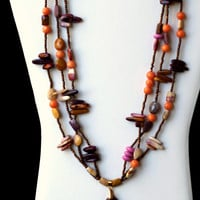 Long Multi Strand Mookaite Pendant Statement Necklace/ Colorful Maroon Brown Lilac Yellow Pink Semiprecious Australian Jasper/  OOAK Unique
