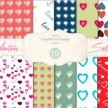 """Love Digital Scrapbook Paper Pack 02 : """"LOVE"""" Heart Patterns - Perfect for valentine 's day - Personal and Commercial Use - Instant Download"""