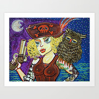 Pirate Quest For The Golden Owl Art Print by Laura Barbosa Art