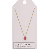 October Birthstone Necklace - Pink