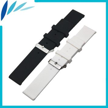Silicone Rubber Watch Band 20mm 22mm 24mm for Orient Stainless Steel Pin Clasp Strap Wrist Loop Belt Bracelet Black White + Tool