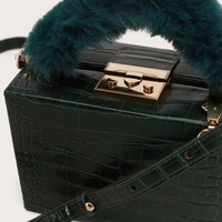 Faux-fur handle box bag