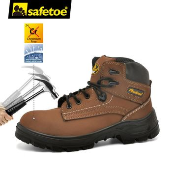 safetoe Safety Shoes Work Boots Men Steel Toe Cap Leather UK Size 2-13 Anti-smashing PU/PU Dual Density Breathable S3 SRC