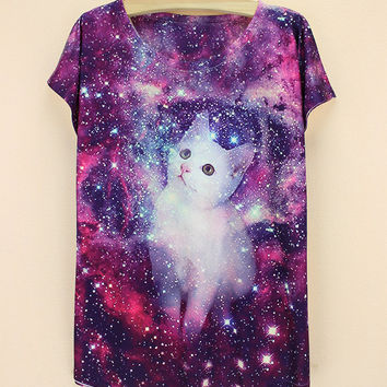 Summer 3D Print Cats Ladies T-shirts [6050142081]