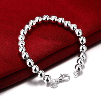 Free Shipping silver plated Bracelet Fashion Jewelry 8MM Rosary Ball Bead Bracelet Bangle Top Quality SMTH126