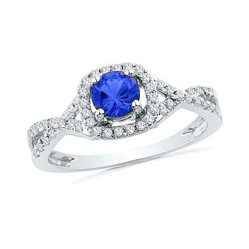 10kt White Gold Women's Round Lab-Created Blue Sapphire Solitaire Diamond Ring 1/5 Cttw - FREE Shipping (US/CAN)