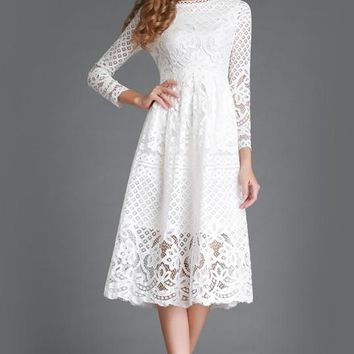 A| Chicloth Solid Lace Long Sleeve A-line Midi Dress