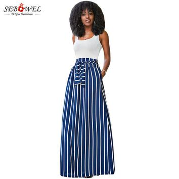SEBOWEL 2017 Autumn Summer Women Long Skirt Chic Colorblock Striped Maxi Skirts Full-length High Waist Tie Big Hem Vintage Skirt