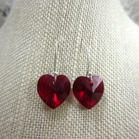 Red Heart Earrings, Sterling Silver Earrings, Red Swarovski Elements Crystal Heart Earrings, Birthday Gift
