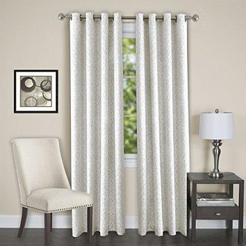 Lorraine Room Darkening Energy Efficient Blackout Curtain Panel (52 inch  x 84 inch ) with 8 Grommets - White