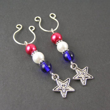 4th of July Non Piercing Nipple Dangle Rings Set Retro 70's Style Stars Red White & Blue Clip On Body Beads Charms Intimate Jewelry Hot Sexy
