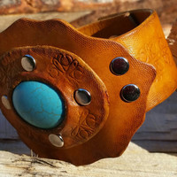 Handmade Ladies Tan Leather Cuff with Turquoise Synthetic Stone - Stamped and Tooled Design - Easy Snap