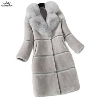 Winter New Women Fur Coat Plus size Ladies Thicke Warm Jackets Outerwear Casual Faux Mink Fur Coats Female Fox Fur collar Parka
