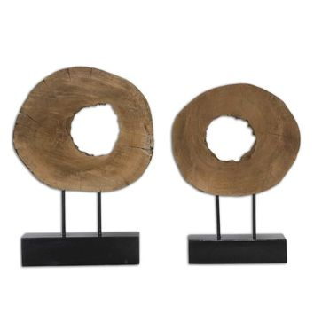 Ashlea Wooden Sculptures Set 2 By Uttermost