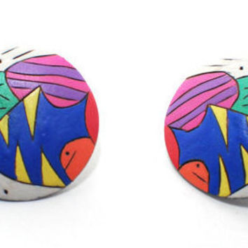80s 90s Wooden Earrings,Arylic Paint, Abstract Surrealist, Bright Colorful