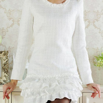 White Long Sleeve Ruffled Dress