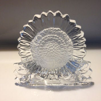 PARTYLITE Crystal Glass Tealight Candleholder Sunflower Design Vintage 1990s Stickered Taiwan