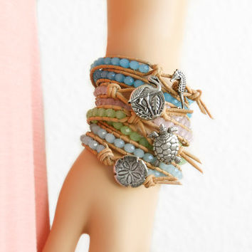 Sand Dollar Leather Bracelet Beach Bracelet Friendship Bracelet Beaded Bracelet Leather Wrap Bracelet Boho Mermaid Gift Nautical Bracelet