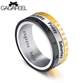GAGAFEREL Men Jewelry Number Month Ring Laser Letter Engrave Turn Three layers Fingle Rings Diy Logo Stainless Steel Male Gifts