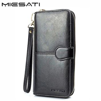 MIESATI 100% genuine leather wallet female womens wallets and purses walet ladies girl small slim brand women clutch bag handbag
