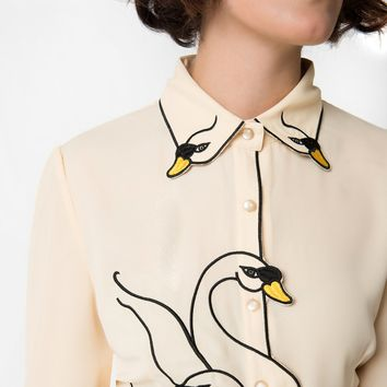 Banned Beige & Black Swan Lake Embroidered Chiffon Blouse