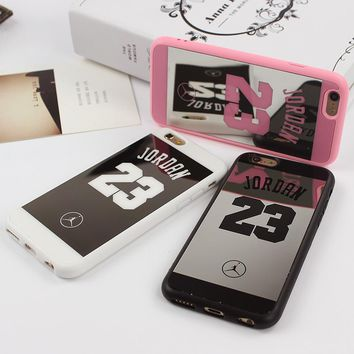 Jordan 23 Lovers Couple Soft Silicone Chrome Mirror Case for iphone 5 5s SE 6 6s 7 plus Phone cases  Cover Coque Fundas Capa