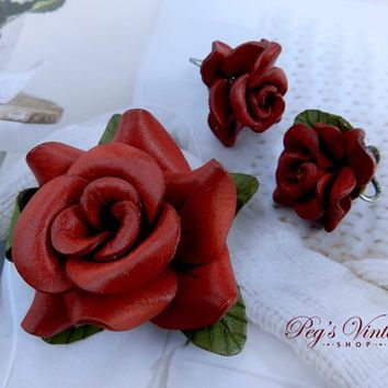 Vintage Tooled Leather Red Rose Brooch & Earrings, Handmade Flower Jewelry Set Canada