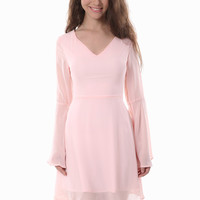 Chiffon Cutout Back Long Sleeve Dress In Pink