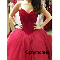 red beading sweetheart organza ball gown dress prom dress