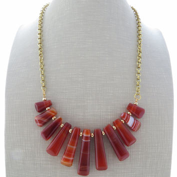 Agate necklace, statement necklace, orange stone necklace, bib necklace, gemstone necklace, semi precious stone jewellery, italian jewelry