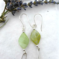 Czech Picasso glass and  Argentium silver earrings