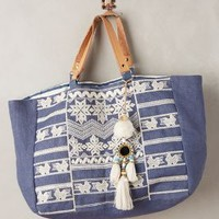 Takahe Embroidered Tote by Star Mela Navy Ecru One Size Bags