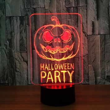 Halloween Party Pumpkin Sign 3D LED Night Light Lamp
